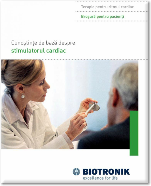 Pentru mai multe informații despre VIAȚA CU UN  STIMULATOR CARDIAC puteți descărca alăturat  Broșura pentru pacienți, pusă la dispoziție de  unul dintre marii producători de dispozitive cardiace  implantabile.